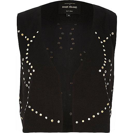Black embellished cropped vest