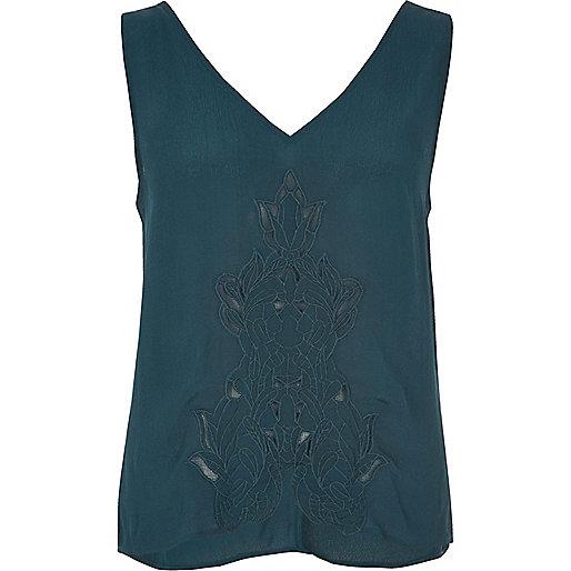 Turquoise cutwork tank top