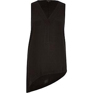 Black sleeveless asymmetric top