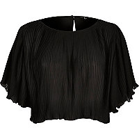 Black pleated crop top