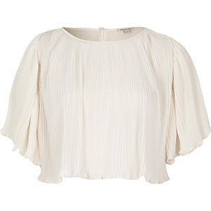Beige pleated crop top