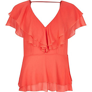 Coral frilly blouse