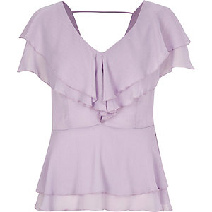 Lilac purple frilly blouse