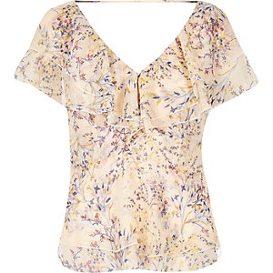 Cream print frilly blouse