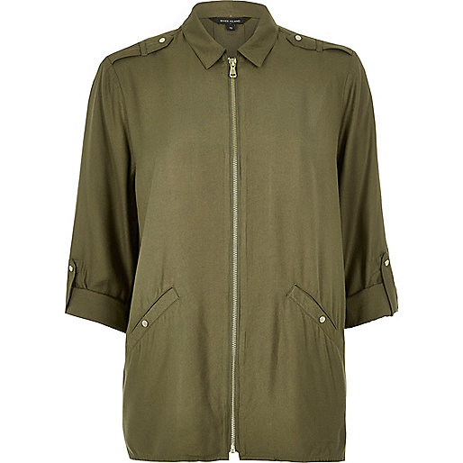 Khaki zip shirt