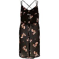 Black print strappy cami tunic