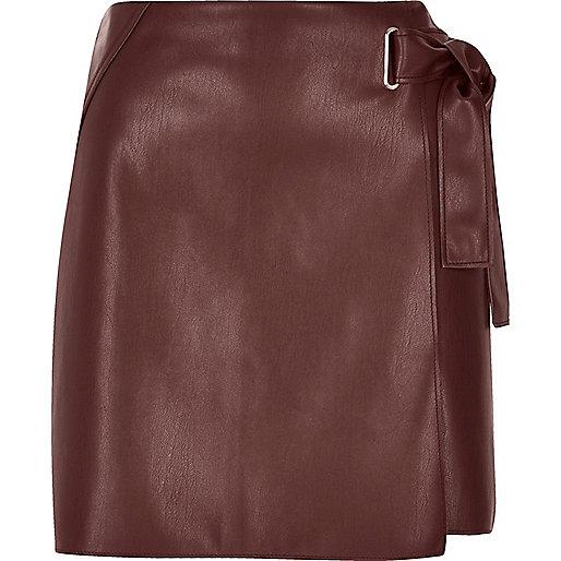Dark red buckle wrap mini skirt