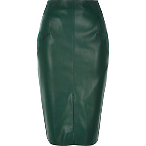 Dark green leather-look pencil skirt