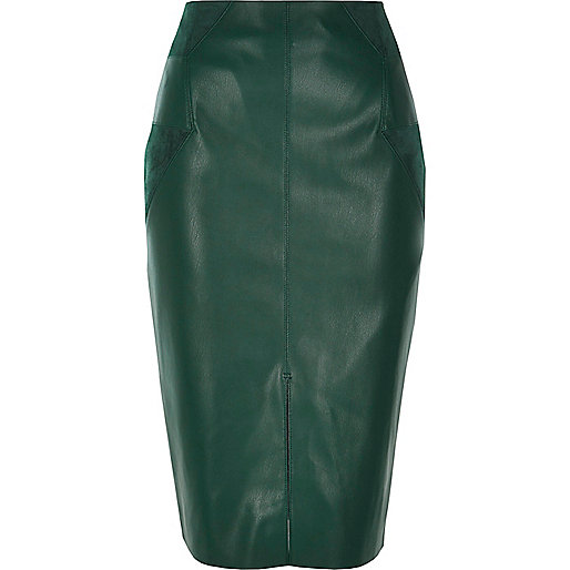 Dark green leather look pencil skirt