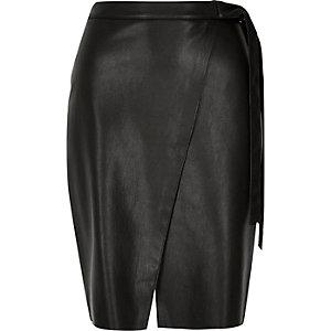 Black leather-look wrap midi skirt