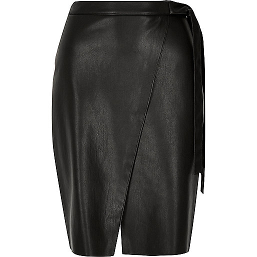 Black leather look wrap midi skirt