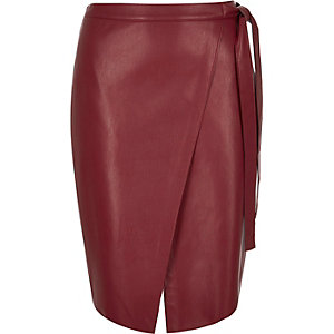 Red leather look wrap midi skirt