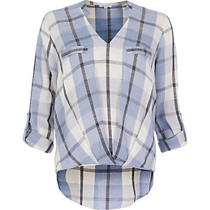 Blue check blouse