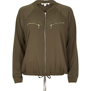 Khaki bomber shacket