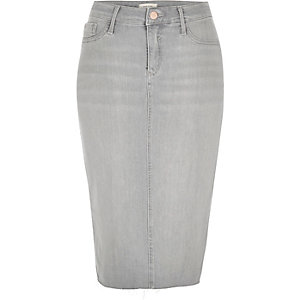 Light grey wash denim pencil skirt