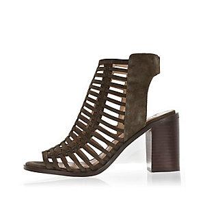 Khaki caged heel shoe boots