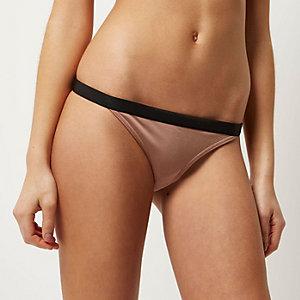 Dark beige contrast waist bikini bottoms