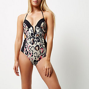 Cream print color block plunge swimsuit