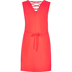 Bright pink lace-up swing dress
