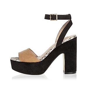 Tan double strap platform heels