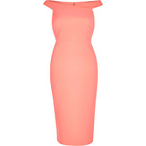 Coral bardot dress