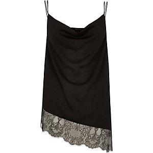 Black asymmetric lace cami