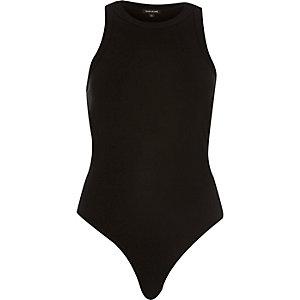 Black crew neck bodysuit