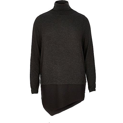Grey high neck layered top