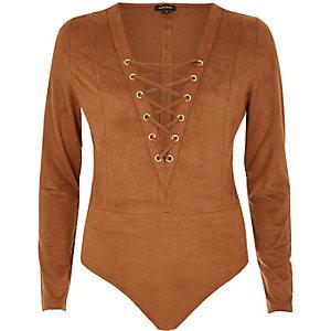 Brown lace-up bodysuit