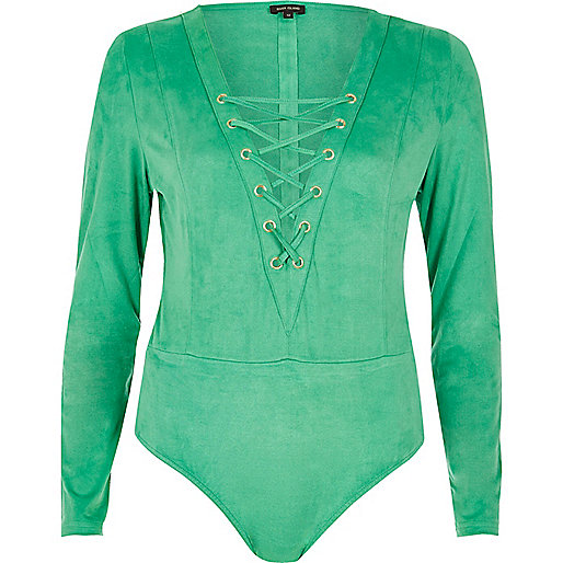 Green lace-up bodysuit