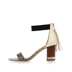 Grey snake print contrast strap heels