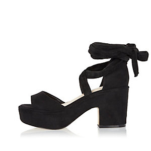 Black soft tie-up platform block heels