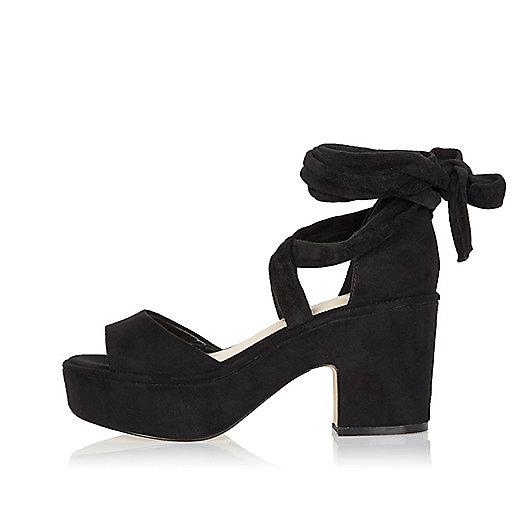 Black soft tie-up platform block heels
