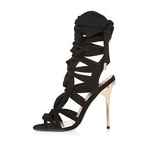 Black tie-up heels