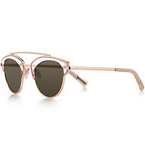 Rose gold tone brow bar sunglasses