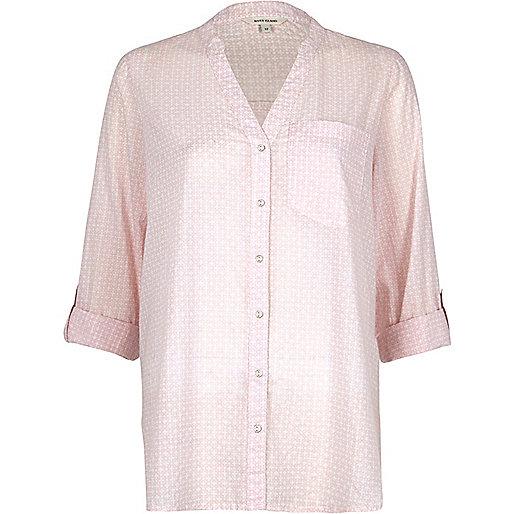 Chemise rose clair coupe décontractée