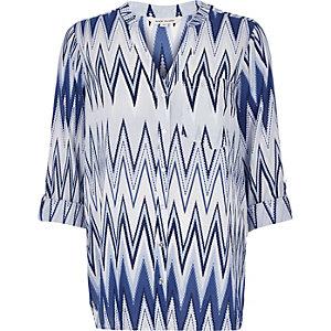 Blue print loose shirt