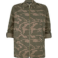 Brown camouflage print zip shirt