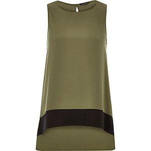 Khaki color block longline top