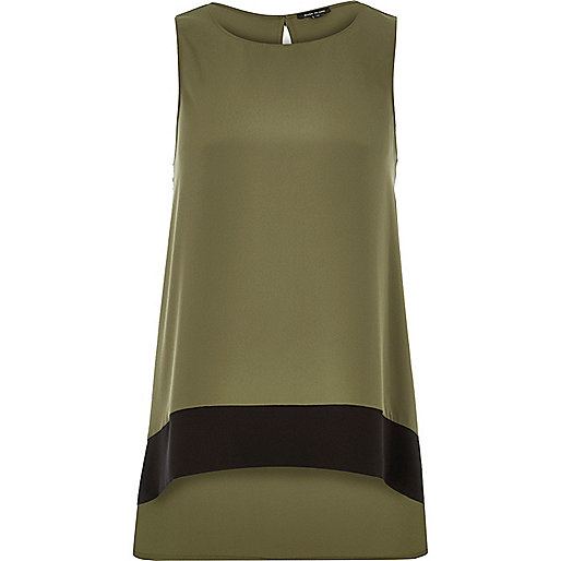 Khaki colour block longline top