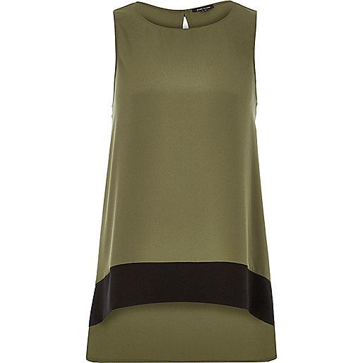 Khaki color block longline top