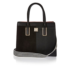 Black structured tote bag