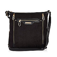Black messenger handbag