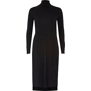 Black turtleneck column tunic