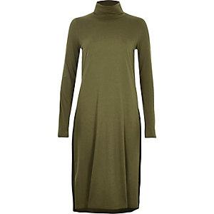 Khaki green turtleneck column tunic