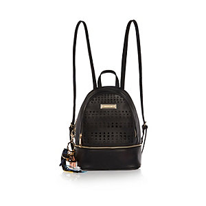 Black laser cut mini backpack