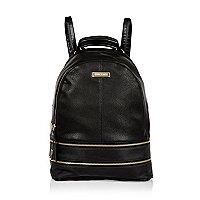 Black zip detail backpack