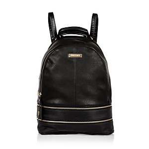 Black zip detail backpack