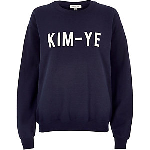 Navy Kim-Ye print sweatshirt