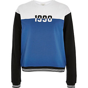 White colour block '90s sweatshirt